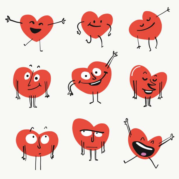 Heart shape emoticons Vector illustration of a set of cute emoticon heart shapes love emotion stock illustrations