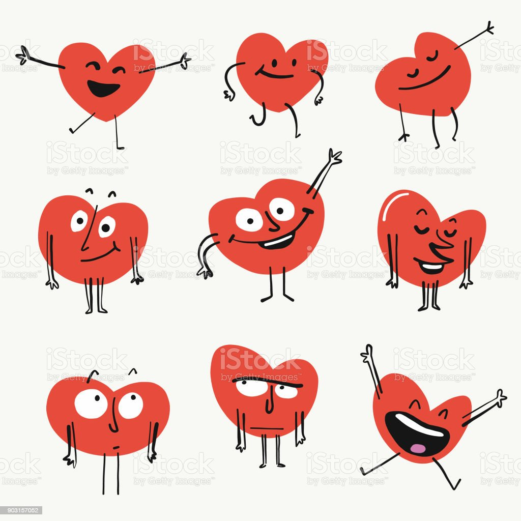Heart shape emoticons vector art illustration