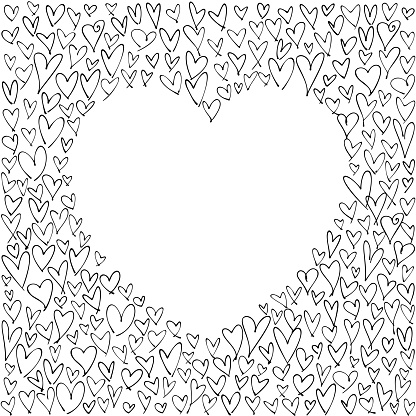 Heart shape empty space on chaotic abstract hand-drawn hearts background