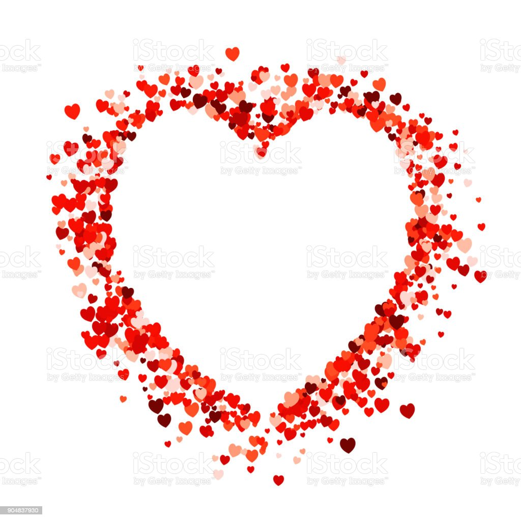 Heart shape empty space on red heart shape confetti on white background. vector art illustration
