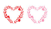 These heart shaped vector floral wreaths can be scaled to any size without loss of quality. The detailed heart shapes incorporate flower petals, leaves, branches and berries to create ornate frames for your designs. The EPS 10 illustrations are isolated on a white background and can be coloured to suit your needs making these an ideal design element for your romantic project.