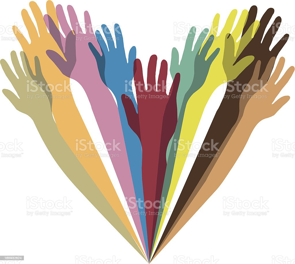 Heart shape formed of multicolored arms and hands royalty-free stock vector art
