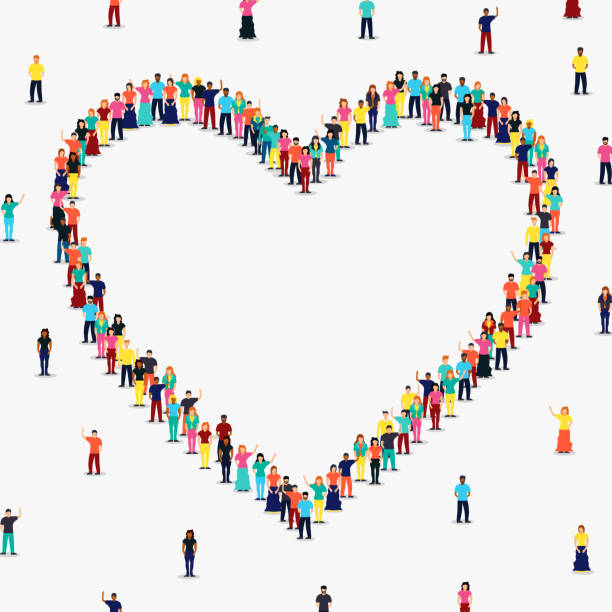 Heart shape frame of diverse people group Heart shape frame made of people group on isolated white background with copy space. Diverse women and men, romantic relationship or love concept. african american valentine stock illustrations