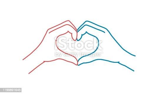 istock Heart shape hand. 1199891645