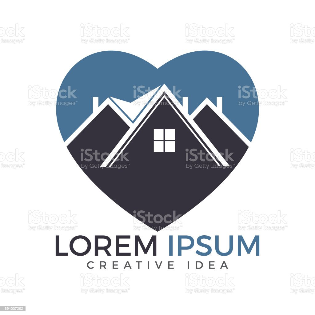 heart shape house vector design property icon template stock vector