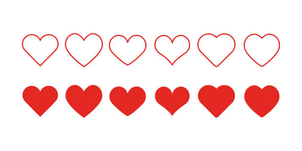 stockillustraties, clipart, cartoons en iconen met hart shapepictogrammen - heart