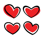 Vector illustration of the hand drawn heart shape icons.