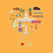 Heart shape illustration with I love Cuba quote. Cuban landmarks, food, art vector icons. Travel to Cuba concept banner