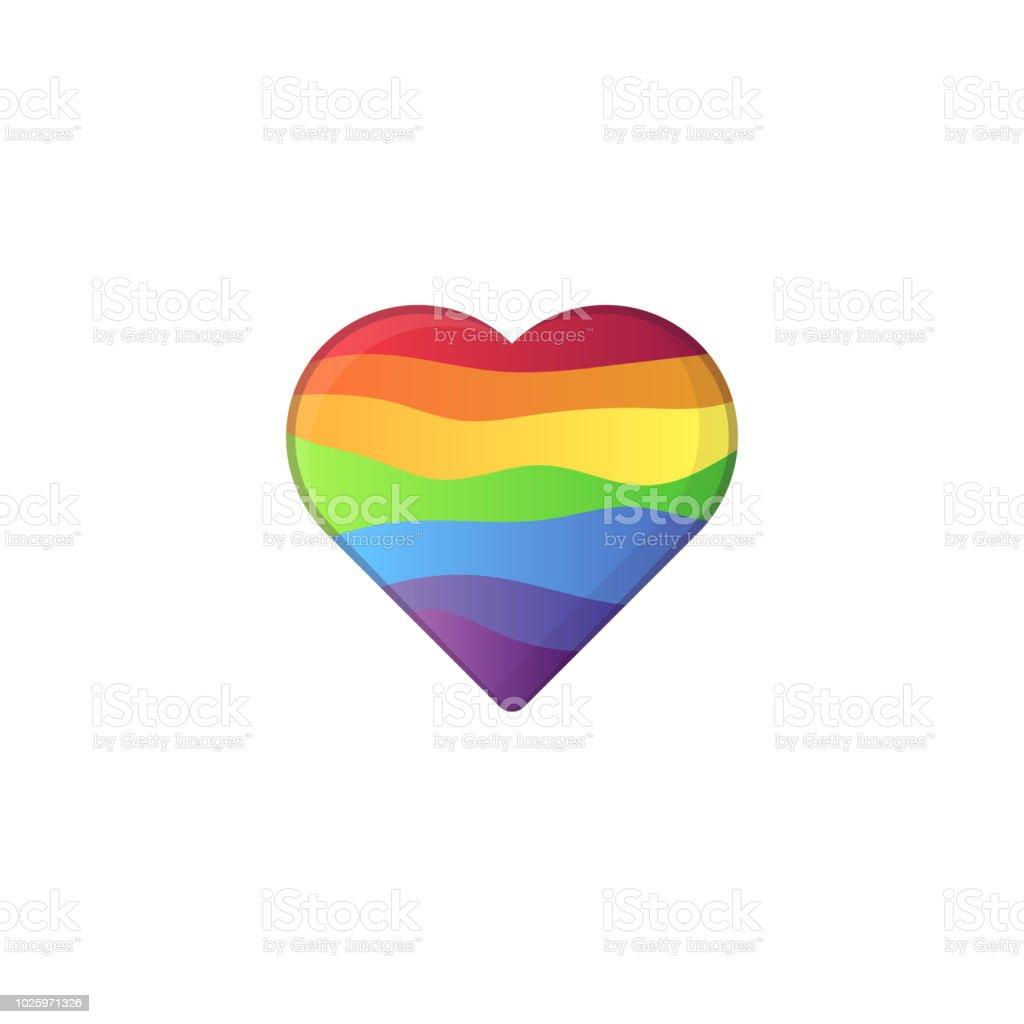 En forma de corazón en colores del arco iris de lgbt - ilustración de arte vectorial