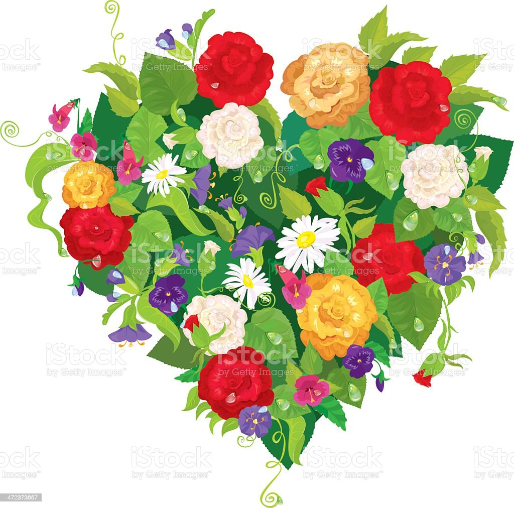 Heart Shape Is Made Of Beautiful Flowers Valentines Day Card Stock