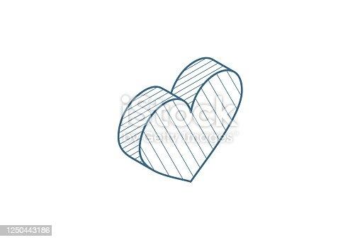 istock heart shape isometric icon. 3d line art technical drawing. Editable stroke vector 1250443186