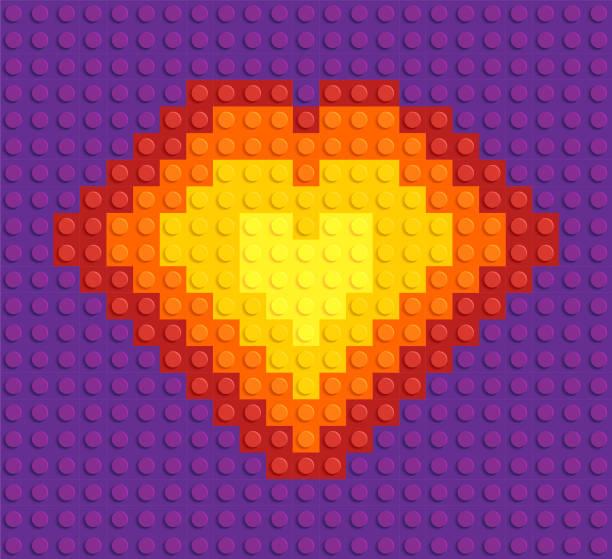 stockillustraties, clipart, cartoons en iconen met hartblok vorm lego plastic speelgoed - lego