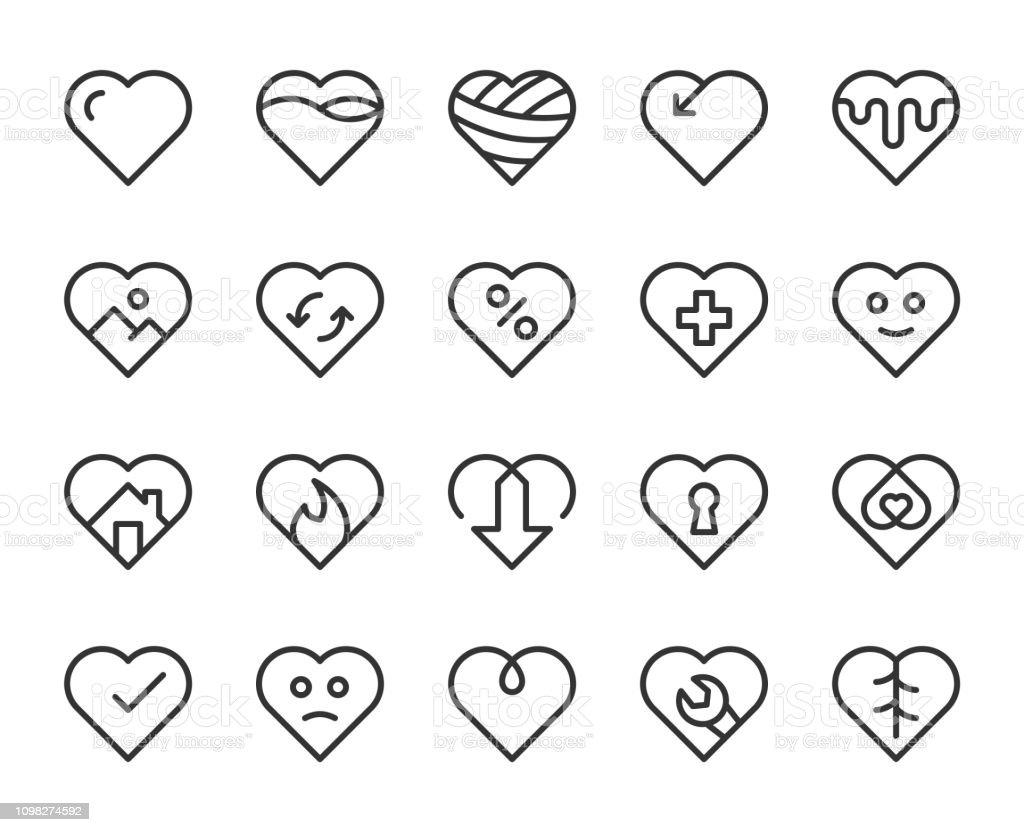 Heart Shape - Line Icons vector art illustration