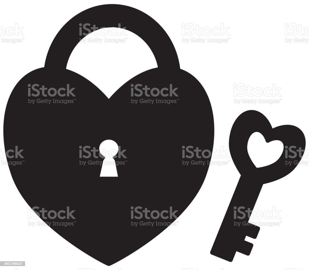 Vetores De Bloqueio De Forma De Coração Ou Cadeado Com Chave