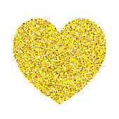 Heart shape made from gold glitter on white background.