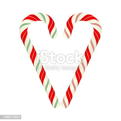 istock Heart shape made of candy canes, vector design 1296122524