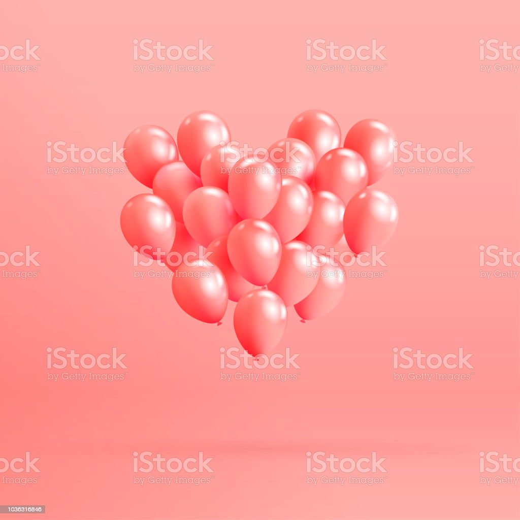 Heart Shape Made Of Realistic Glossy Helium Balloons Floating On ...