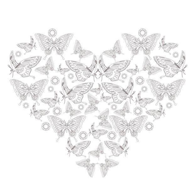 A heart shape made up of butterflies vector art illustration