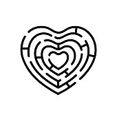 Heart shape maze. Vector isolated design element.  Symbol of labyrinth.