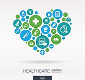 Color circles with flat icons in a heart shape: medicine, medical, health, cross, healthcare concepts. Abstract background with connected objects in integrated group of elements. Vector illustration.