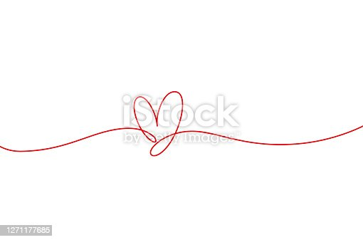 Heart shape mono line. Continuous line icon, hand drawn calligraphic element. Flourish clipart. Ornate isolated element for Valentine's day, wedding, lgbt pride. Outline shape.