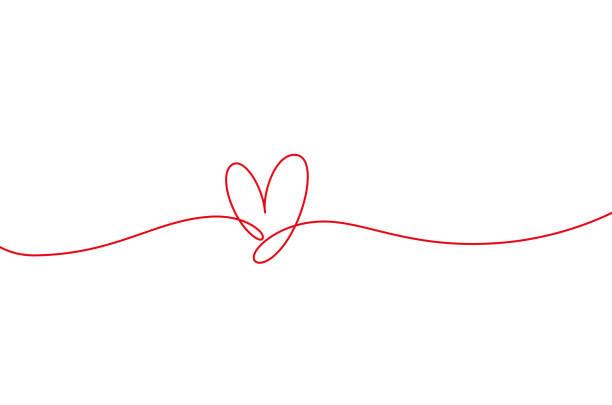 herzform mono linie. kontinuierliches liniensymbol, handgezeichnetes kalligraphisches element. flourish clipart. - einzelner gegenstand stock-grafiken, -clipart, -cartoons und -symbole