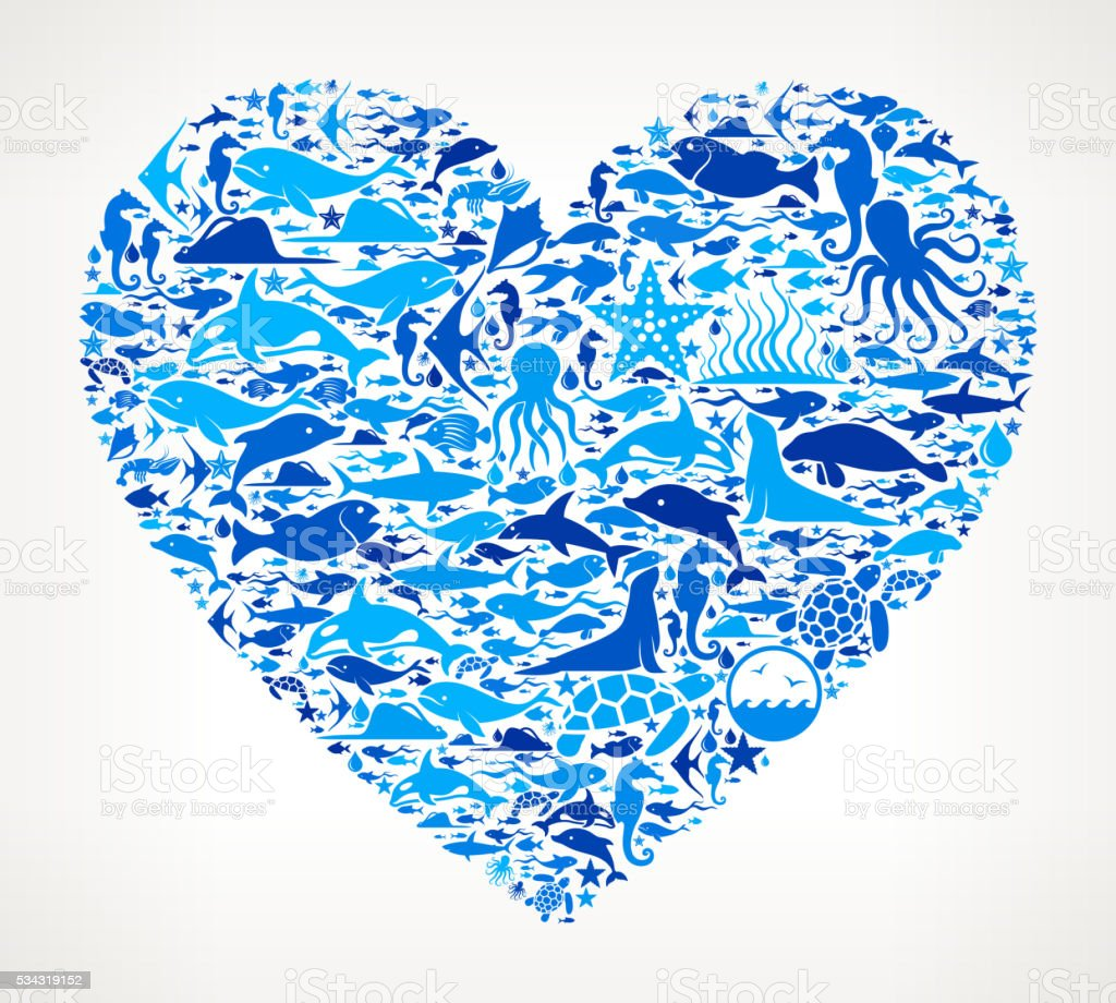 Heart shape Ocean and Marine Life Blue Icon Pattern vector art illustration