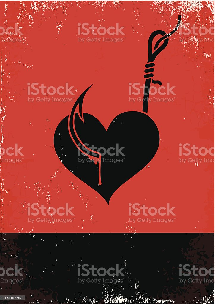 Heart shape on a fishing hook in red and black royalty-free stock vector art