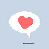 istock Heart shape on speech bubble 1293389740