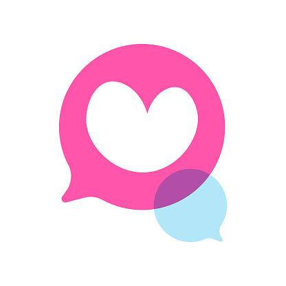 Heart shape on speech bubble