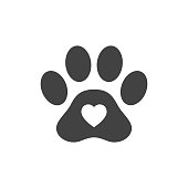 Heart shape or love symbol in animal paw print for pet care icon concept vector illustration.
