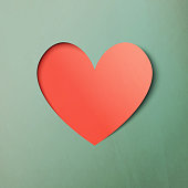Vector illustration of a paper art effect heart shape for Valentines Day design projects.
