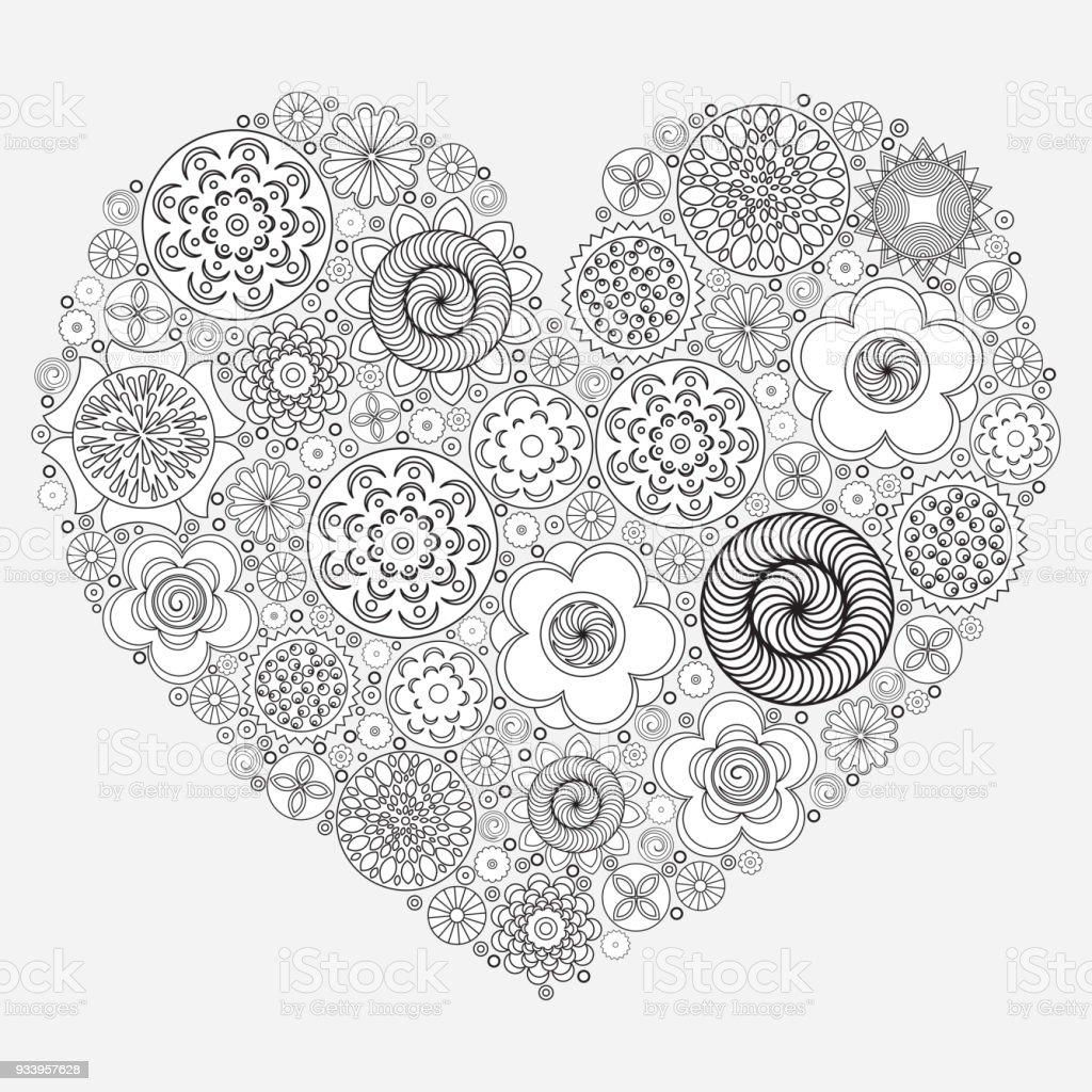Boyama Kitabı Için Kalp şekli Desen Retro Doodle El çizimi çiçek