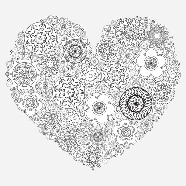Heart Shape Pattern For Coloring Book Floral Imitation Of Retro Doodle Hand Drawing Black