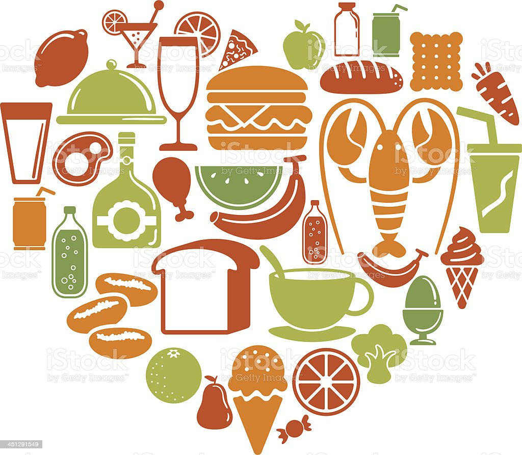 Heart shape pattern with food icon royalty-free heart shape pattern with food icon stock vector art & more images of animal markings
