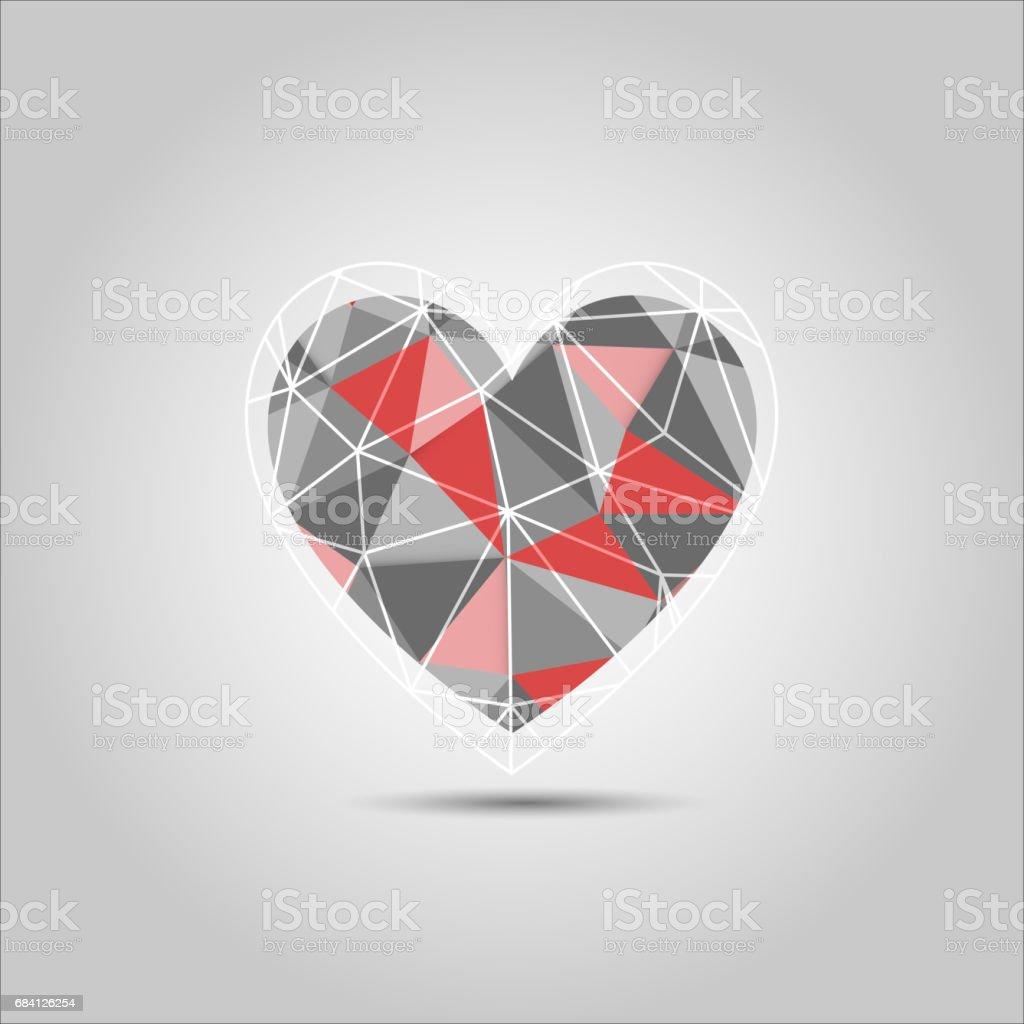 Heart Shape Polygon abstract vector heart shape polygon abstract vector - immagini vettoriali stock e altre immagini di allegro royalty-free