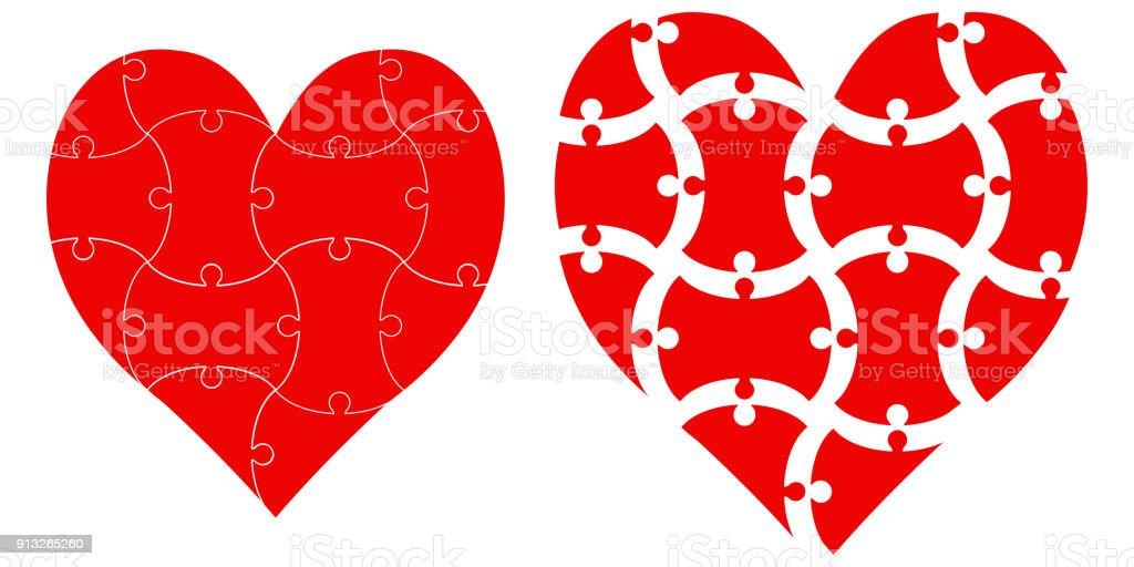 Herzformpuzzle Vektor Herz Puzzle Vorlage Infografiken Liebe Tag