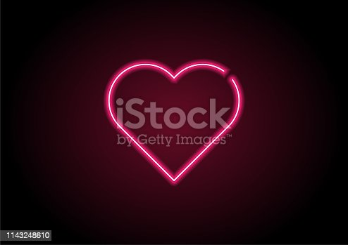 istock Heart Shape Red Neon Light On Black Wall 1143248610