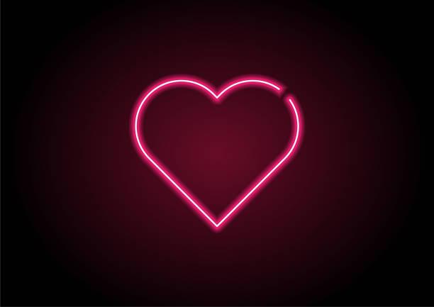 Heart Shape Red Neon Light On Black Wall Heart Shape Red Neon Light On Black Wall romance stock illustrations