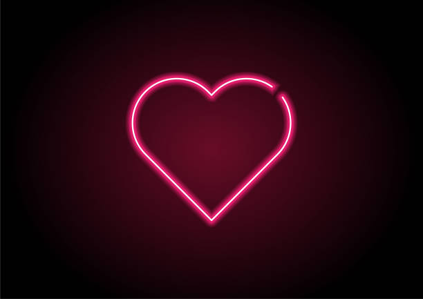 heart shape red neon light on black wall - date night stock illustrations