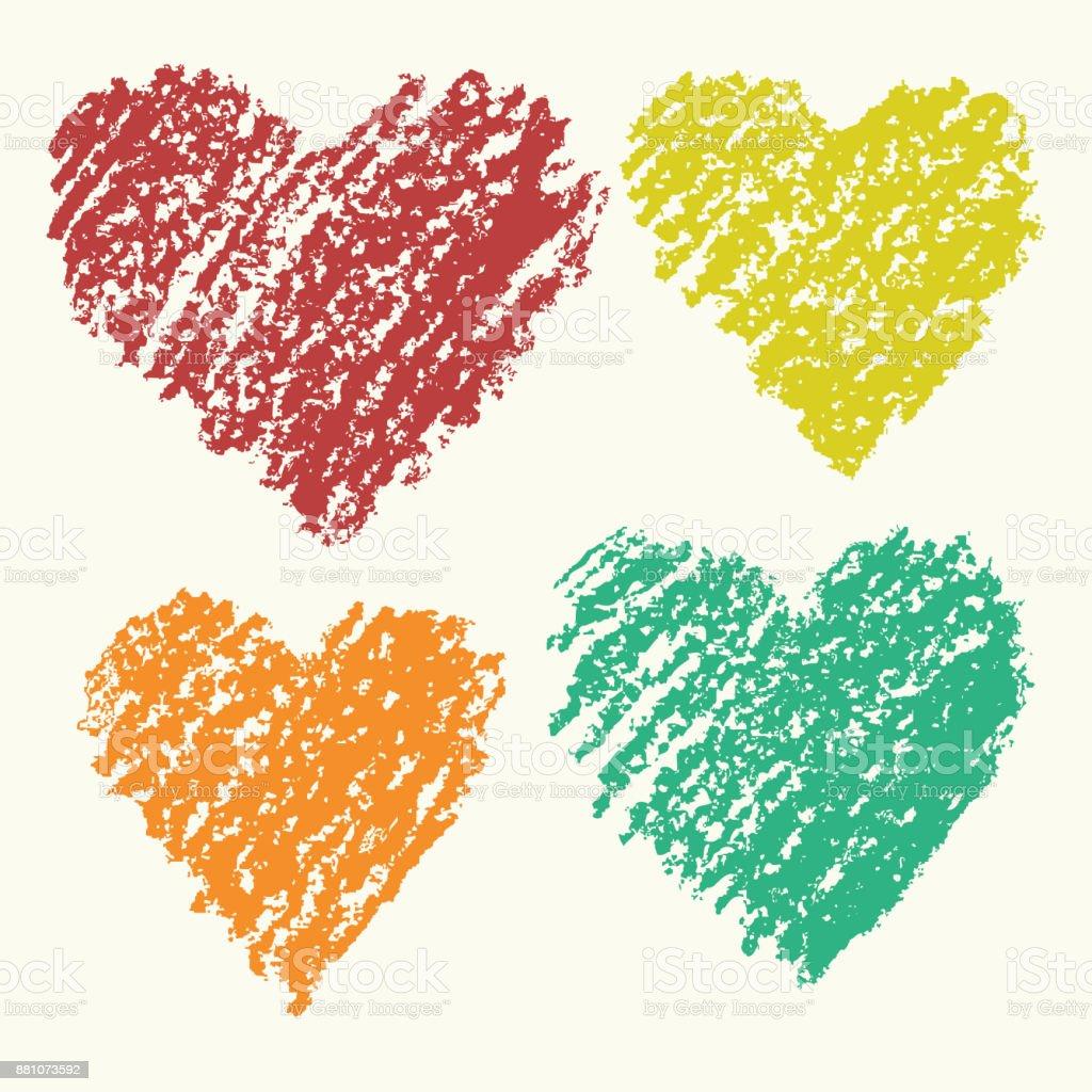 Coups De Coeur Forme Couleur Rétro Art Crayon Main Jeu De