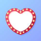 Heart shape retro lights sign template background. Vector illustration