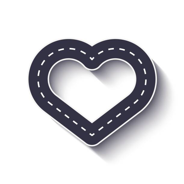 ilustrações de stock, clip art, desenhos animados e ícones de heart shape road icon - driveway, no people