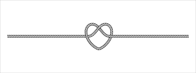 Heart shape rope tie vector illustration. Rope lace line vector. Pretty rope knot form.