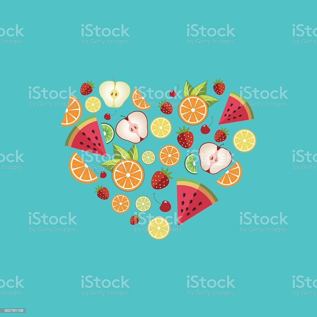 Heart shape. Sliced fruit vector art illustration