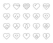 Heart Shape Thin Line Icons Vector EPS File.