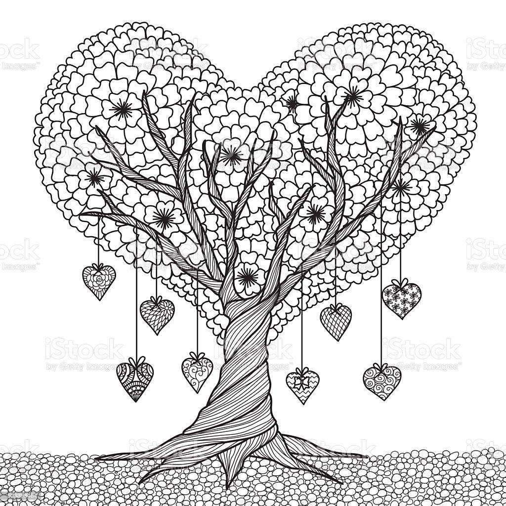 Forma De Corazón árbol Libro Para Colorear - Arte vectorial de stock ...