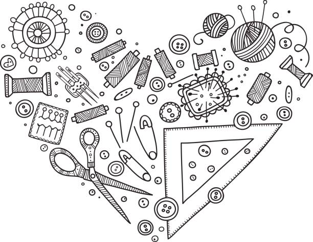 herz-form-vektor-set der nähwerkzeuge. - herzkissen stock-grafiken, -clipart, -cartoons und -symbole