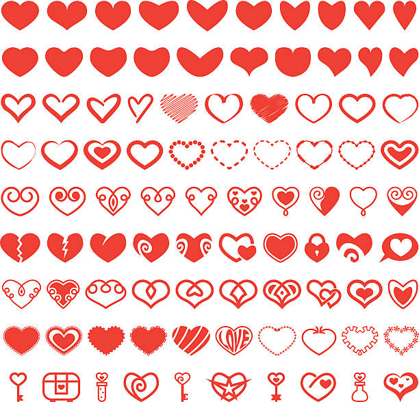 Heart Shape Vector Set vector art illustration