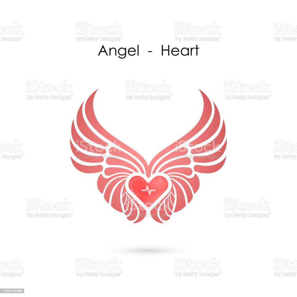 Heart Shape With Angel Wings Icon Design Templatelove Symbolvalentines Day Signemblem Isolated On White Backgroundvector Illustration Stock Illustration Download Image Now Istock